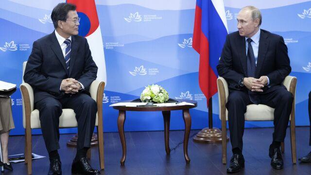 Znalezione obrazy dla zapytania zdjęcia Putina z prezydentem Korei MUN