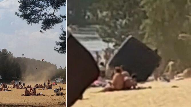 """""""Latające parasole i materace"""". <br />Diabełek pyłowy pojawił się na plaży"""