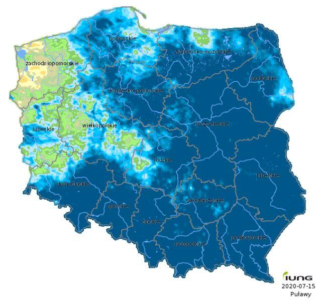 Susza rolnicza w Polsce - stan na 15 lipca 2020 roku (IUNG)