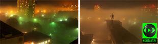 Morze mgły zalało Bydgoszcz. Zniknęły zabudowania, światło się rozproszyło