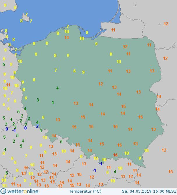 Temperatura powietrza 4 maja o godzinie 16.00 (wetteronline.de)