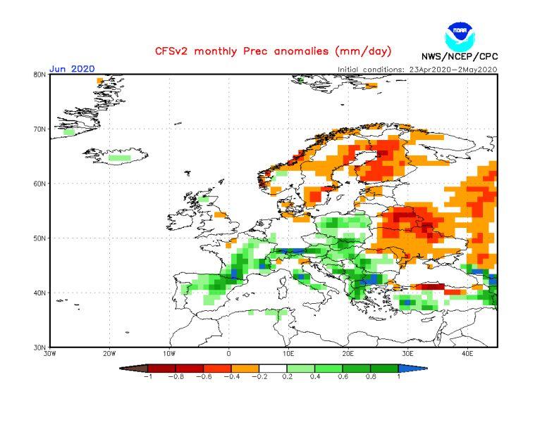 Prognoza odchylenia sumy opadów od normy na czerwiec 2020 (NOAA)