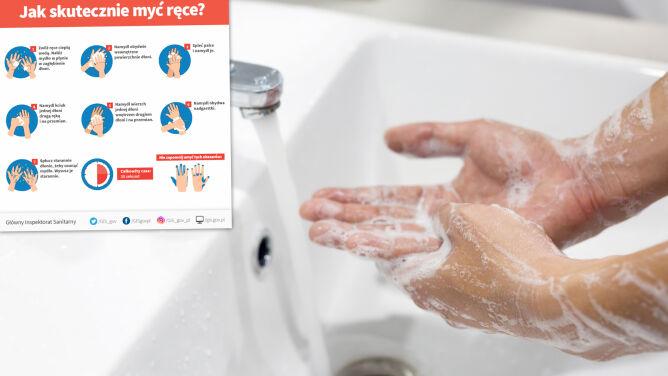 """Mycie rąk. WHO: powinno trwać tyle, ile dwukrotne odśpiewanie """"Happy Birthday"""""""