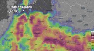 Potencjalne burze w ciągu kolejnych pięciu dni (Ventusky.com | wideo bez dźwięku)